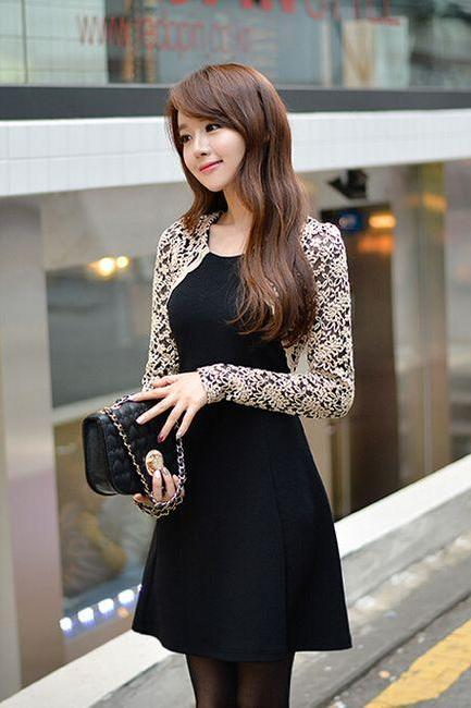 Elegant Lace Sleeve Black Dress