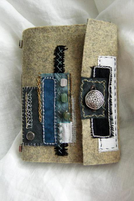 Misty Morning Journal - Wool Felt Embroidered Artist Book - Suede Lining - Hand Embellished - Ready to Ship