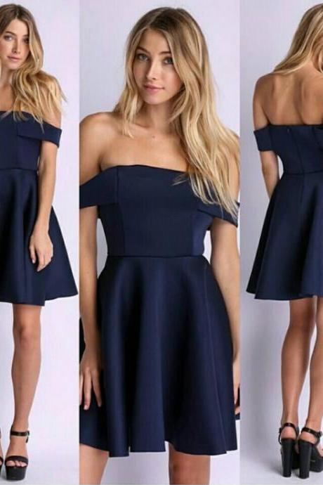 Navy Blue Off-The-Shoulder Short Skater Dress