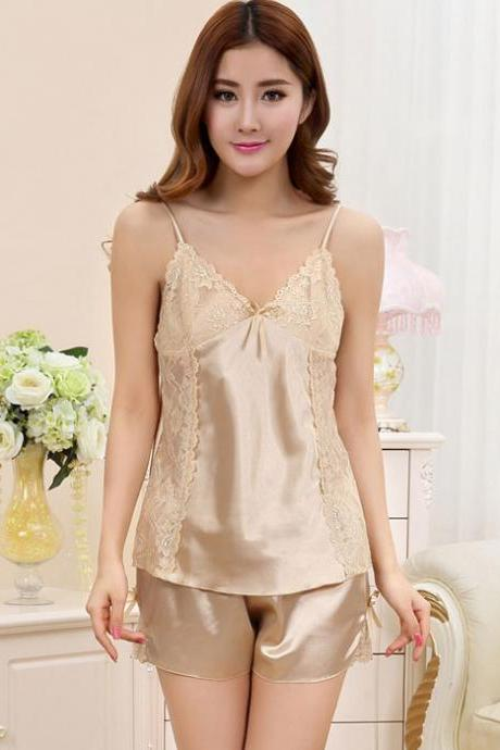 Silk Harness Straps Two-piece Pajamas