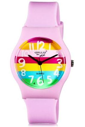 Willis for Mini Student Kid Analog Quartz Wrist Watch (Pink)