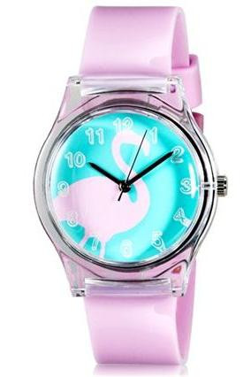 Willis for Mini Kid Student Fashionable Swan Pattern Analog Wrist Watch (Pink)