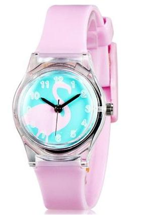 Willis for Mini Kid Fashionable Swan Pattern Analog Wrist Watch (Pink)