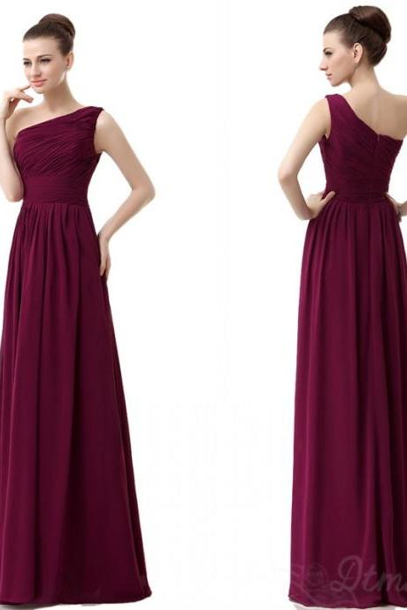One Shoulder Bridesmaid Dresses Chiffon Dress Long Prom Dress Evening Dress Party Dress S036