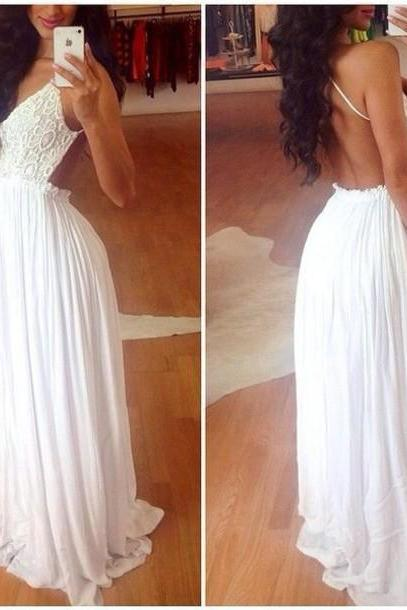 Gorgeous White Lace And Chiffon Backless Dress