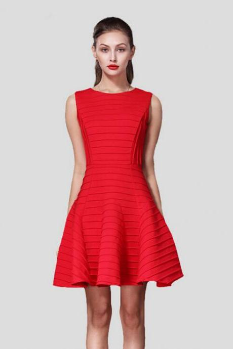 2015 in Europe and the black stripes red space cotton dress