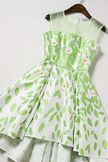 Handmade three-dimensional nail flower dress sleeveless dress