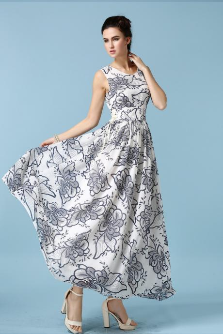 Fashion Floral Chiffon Maxi Dress