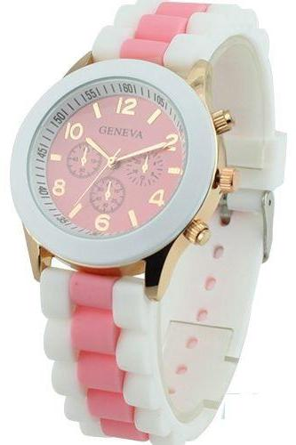 Rubber sport fashion teenage analog pink unisex watch