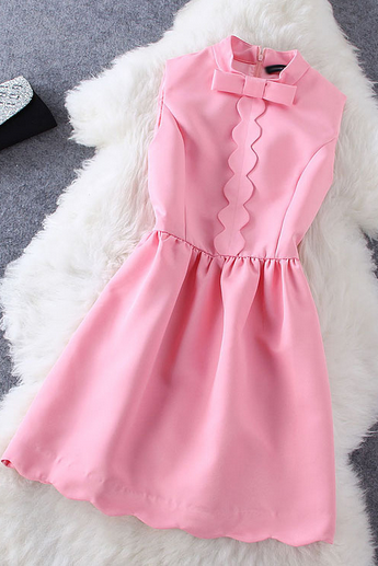 Women's New Fashion Style Collar Bow Color Dress