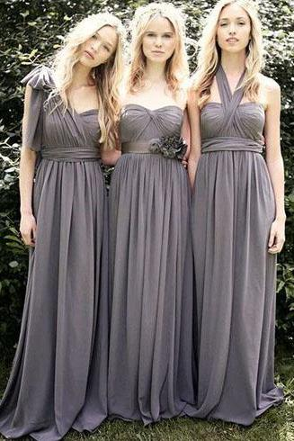 Convertible bridesmaid dress, long bridesmaid dress, gray bridesmaid dress, bridesmaid dress, chiffon bridesmaid dress, cheap bridesmaid dress, BD01