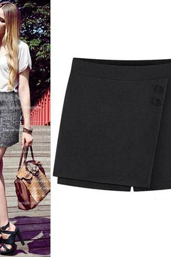Fashion Solid Color High Waist Culottes Shorts