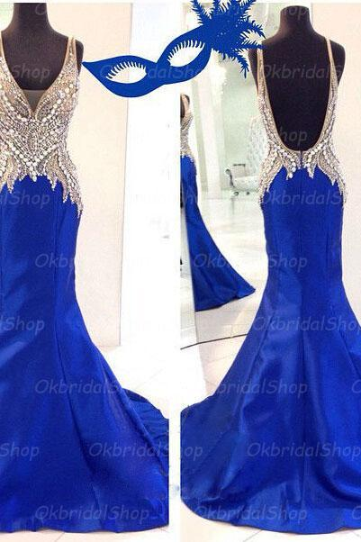blue mermaid prom dresses, backless prom dress, unique prom dresses, sexy prom dresses, 2015 prom dresses, popular prom dresses, dresses for prom, CM396