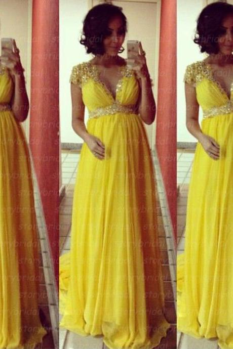 Yellow prom dress, cap sleeve prom dress, maternity prom dress, elegant prom dress, party dress, dress for prom, BD32