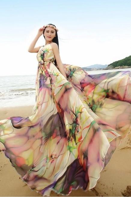 Boho Floral Long Beach Maxi Dress Lightweight Sundress Plus Size Summer Dress Holiday Beach Dress Bridesmaid Dress Long Prom Dress
