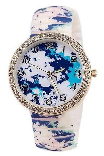 colorful blue-white rubber party girl watch