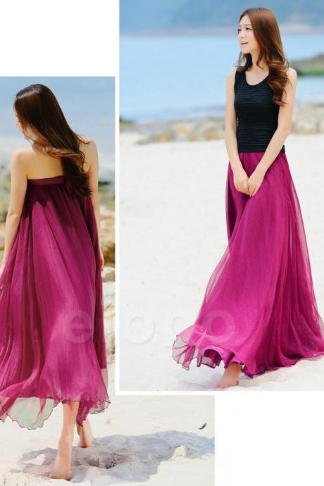 Rose Pink Beach Wedding Bridesmaid Dress Long Chiffon Dancing Maxi Skirts Girls Summer Sundress