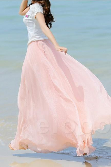 Baby Pink Long Chiffon Skirt Maxi Skirt Ladies Silk Chiffon Dress Plus Sizes Sundress Beach Skirt Oversize