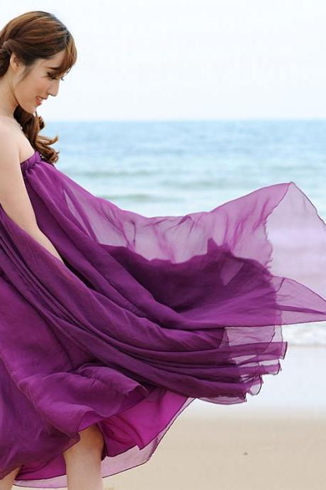 Purple Long Chiffon Skirt Maxi Skirt Ladies Silk Chiffon Dress Plus Sizes Sundress Beach Skirt Oversize 5FE5DYGMMMWSGVFNM9U1O