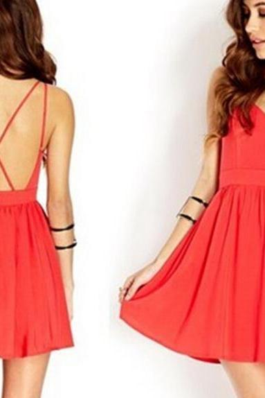 Sexy back crossover v-neck chiffon dress