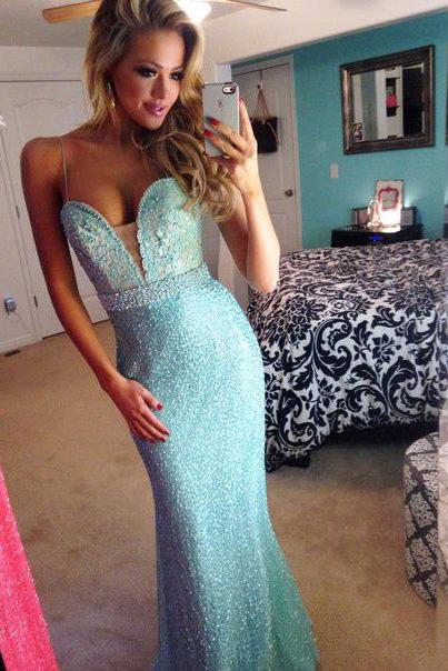 Custom Stunning Sequined Sweetheart Mermaid Prom Dresses, Long Prom Dress, Dresses for Prom, Formal Dresses, Prom 2015