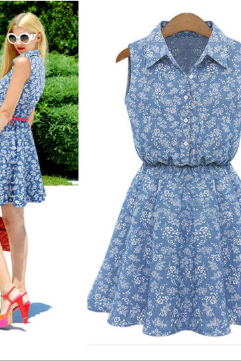 Plus Size 2015 Hot Sale Summer Women Dress Lapel Sleeveless Casual Dresses Slim Denim Dress Women