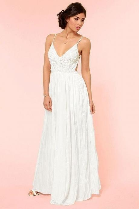 Sexy Lace Chiffon Evening Party Wedding Prom Cocktail Club Maxi Long Dress