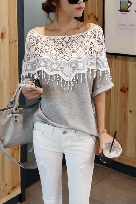 Women's Sweet Grey Slash Neck Patchwork Lace Blouse