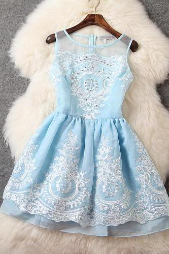 Fashion New Embroidered Sleeveless Dress - Blue