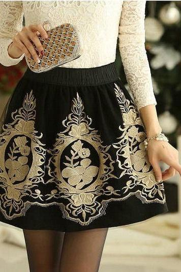 Black Retro High Waist Pleated Floral Chiffon Embroidery Short Mini Skirt Dress