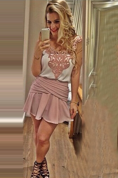 Cheap Fashion O Neck Tank Sleeveless Lace Patchwork Pink Two-Piece Mini Dress(Top+Skirt)