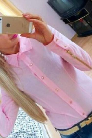Cheap Fashion Turndown Collar Long Sleeves Single-Breasted Zipper Decorated Solid Pink Shirt