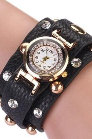Rock girl fashion black Pu leather band watch