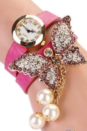 Rhinestones butterfly dress prom pink girl watch