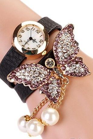 Rhinestones butterfly dress prom black girl watch