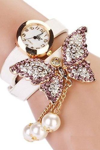 Rhinestones butterfly dress prom white girl watch