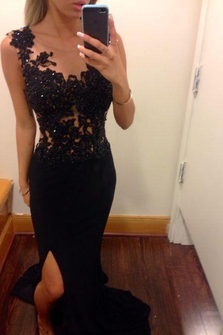 Custom Made Black Mermaid Lace Prom Dresses, Black Lace Evening Dresses, Black Prom Dresses 2015