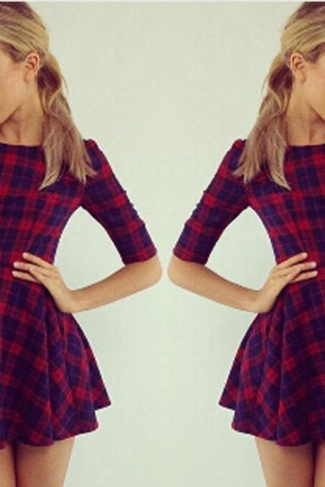 Slim Plaid High Waist Mini Dress