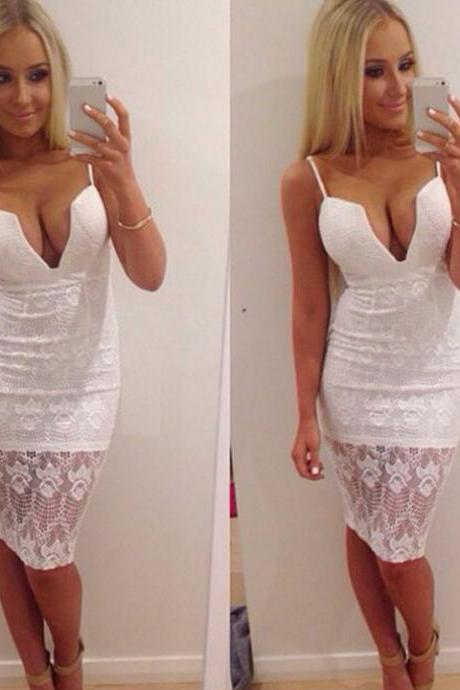Spaghetti Strap Lace Padded Bodycon Dress
