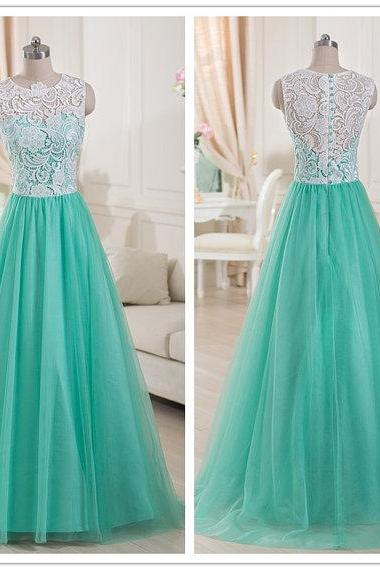 Top Lace Mint Green Tulle Prom Dress 2015