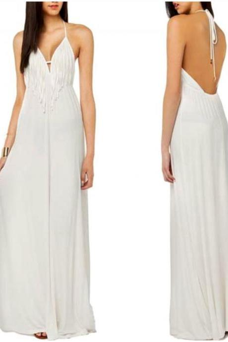 Elegant White Halter Long Dress