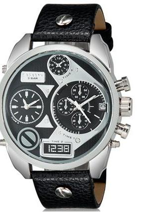 CAGARNY 6822 Men Fashionable Dual Movement Sport Watch with Calendar Display (Black+White)