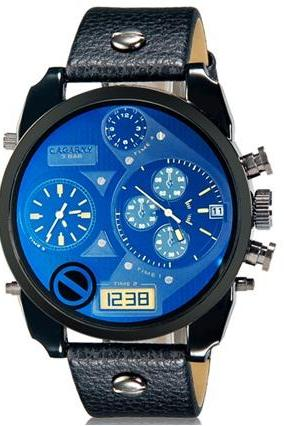 CAGARNY 6822 Men Fashionable Dual Movement Sport Watch with Calendar Display (Black+Blue)