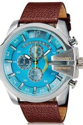 CAGARNY 6839 Men Fashionable Large Dial Sport Watch with Calendar (Brown+Blue)