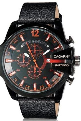 CAGARNY 6839 Men Fashionable Large Dial PlateSport Watch with Calendar Display (Red+Black)