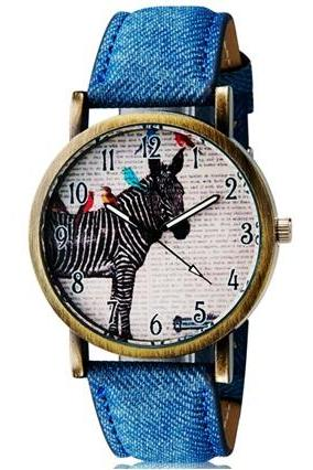 WoMaGe 1128 Women Student Fashionable Zebra Pattern Analog Wrist Watch (Blue)