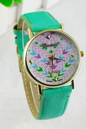Colorful retro Pu leather band teen green girl watch