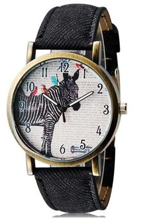 WoMaGe 1128 Women Student Fashionable Zebra Pattern Analog Wrist Watch (Dark Gray)