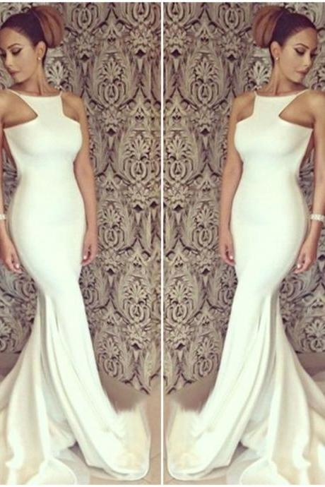 Classy White Floor Length Mermaid Dress