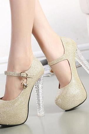Crystal high-heeled cingulate single shoes